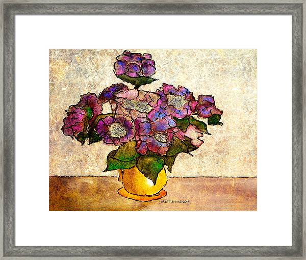 Hydrangeas In Yellow Jug Framed Print