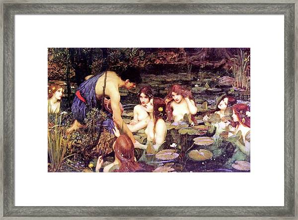 Hylas And The Nymphs Framed Print