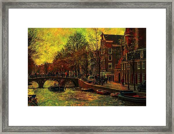 I Amsterdam. Vintage Amsterdam In Golden Light Framed Print