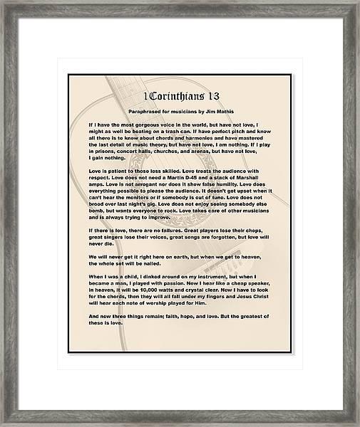 I Corinthians 13 Paraphrase Framed Print