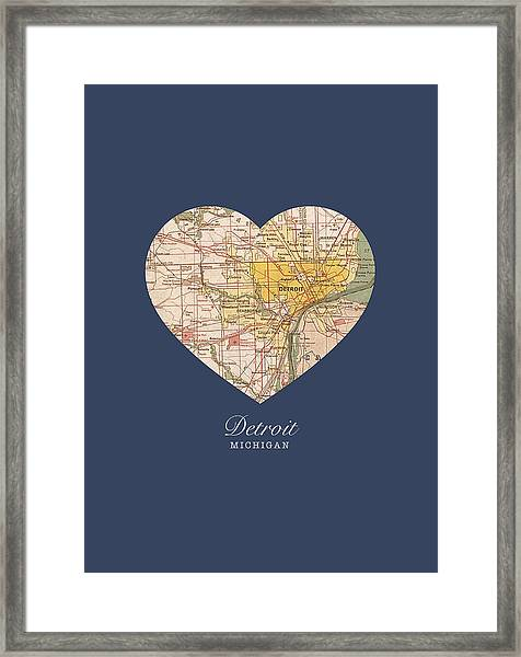 I Heart Detroit Michigan Vintage City Street Map Americana Series No 001 Framed Print