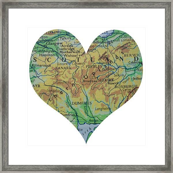 I Love Scotland Heart Map Framed Print