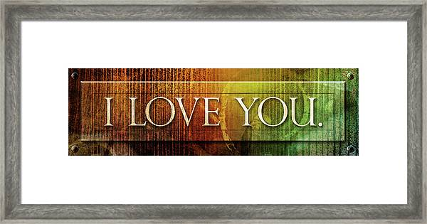 Framed Print featuring the mixed media I Love You - Plaque by Shevon Johnson