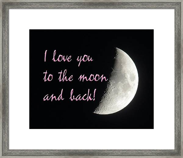 I Love You To The Moon Pink Framed Print