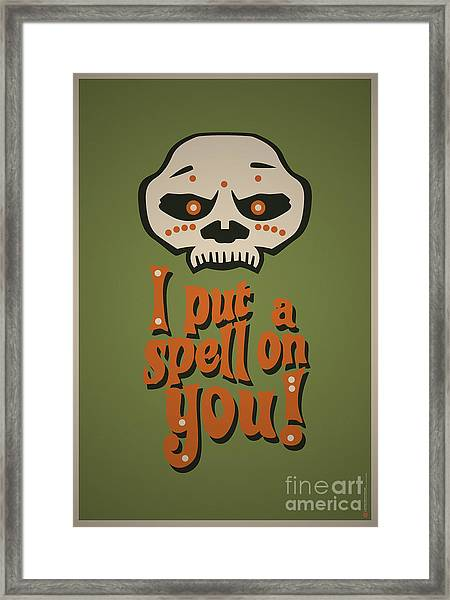I Put A Spell On You Voodoo Retro Poster Framed Print