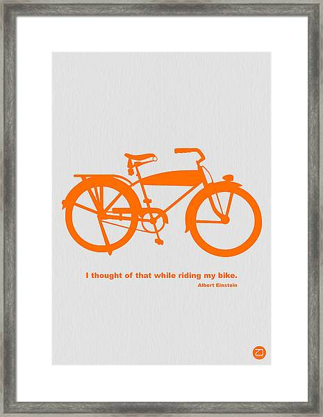 I Thought Of That While Riding My Bike Framed Print by Naxart Studio