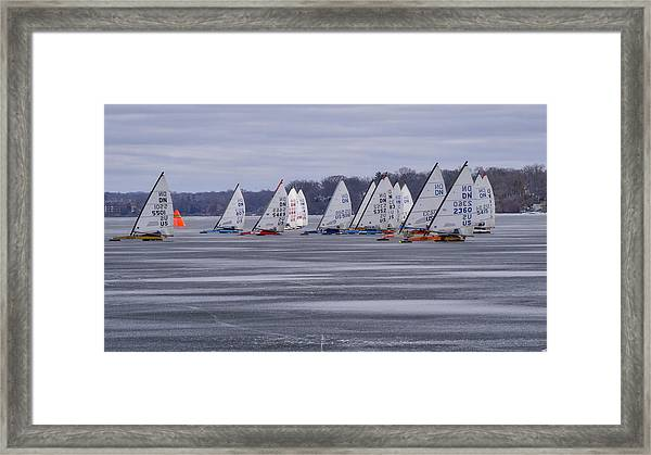 Ice Boat Racing - Madison - Wisconsin Framed Print