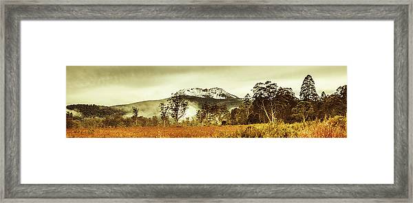 Ice Covered Mountain Panorama In Tasmania Framed Print