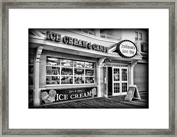Ice Cream And Candy Shop At The Boardwalk - Jersey Shore Framed Print