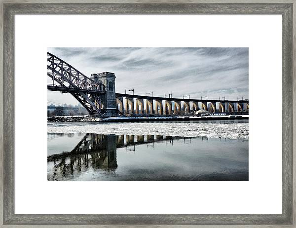 Ice Flows Under The Hellgate Framed Print