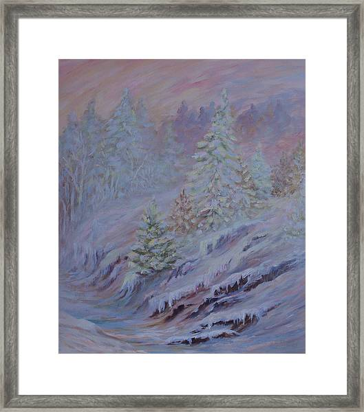 Ice Fog In The Forest Framed Print