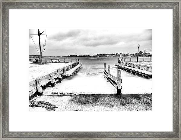 Ice In The Bay At Long Beach Island Framed Print by John Rizzuto