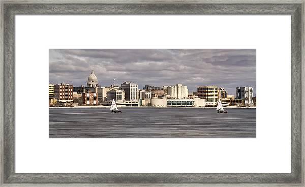 Ice Sailing - Lake Monona - Madison - Wisconsin Framed Print