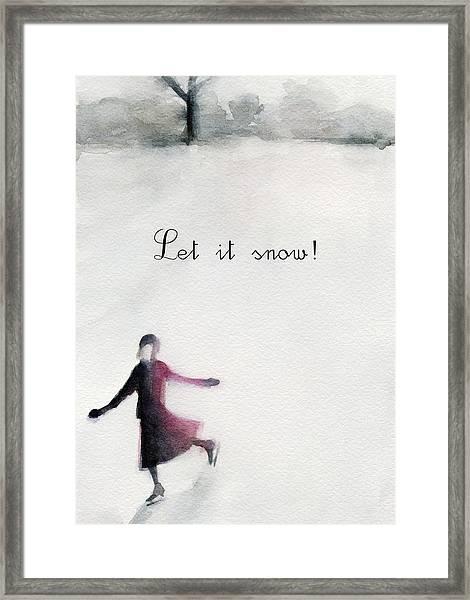 Ice Skater Holiday Card Framed Print