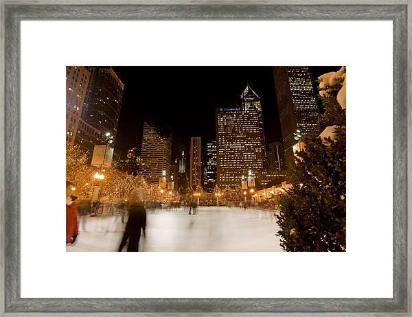 Ice Skaters And Chicago Skyline Framed Print