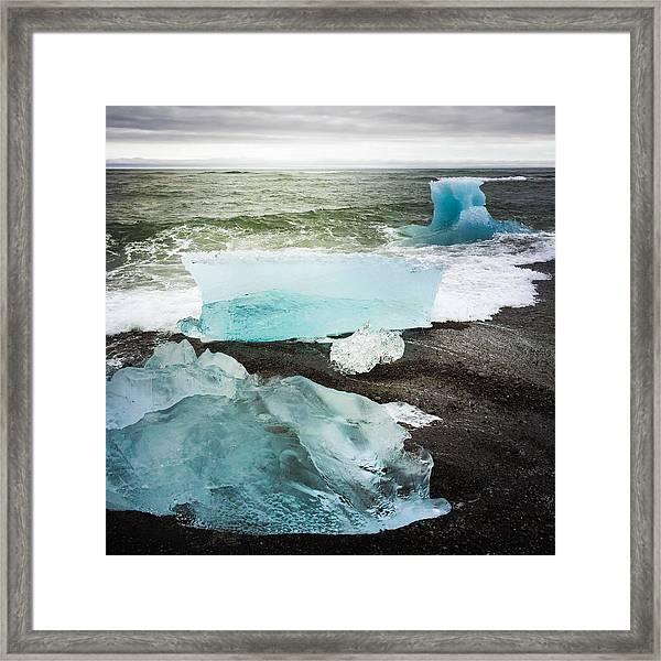 Iceberg Pieces Jokulsarlon Iceland Framed Print