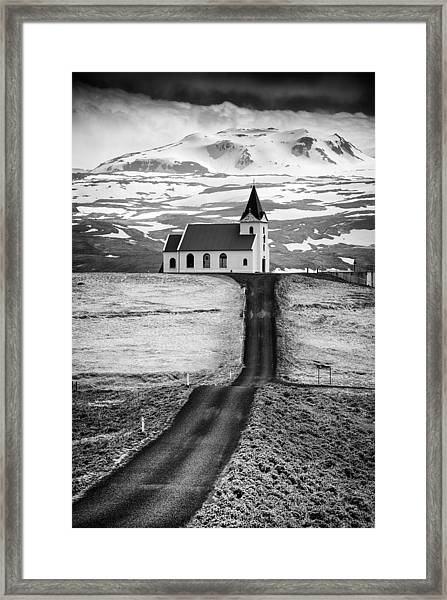 Iceland Ingjaldsholl Church And Mountains Black And White Framed Print