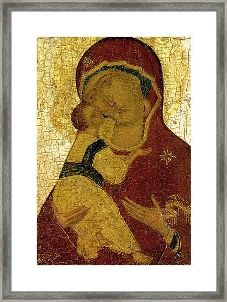 Icon Of The Virgin Of Vladimir Framed Print