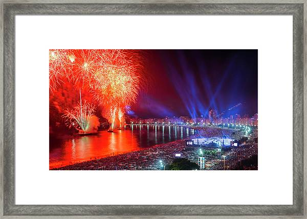 Iconic And Breath-taking Fireworks Display On Copacabana Beach,  Framed Print