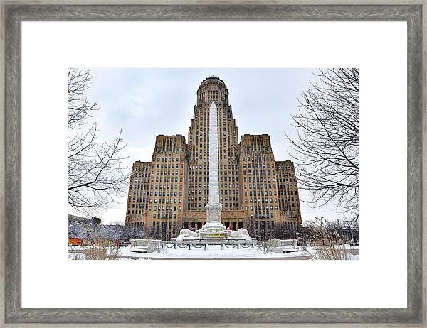 Iconic Buffalo City Hall In Winter Framed Print