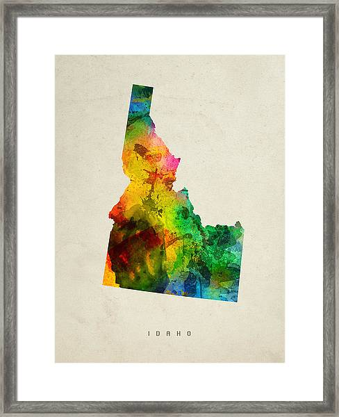 Idaho State Map 01 Framed Print