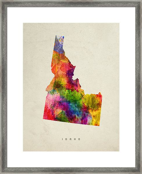 Idaho State Map 02 Framed Print