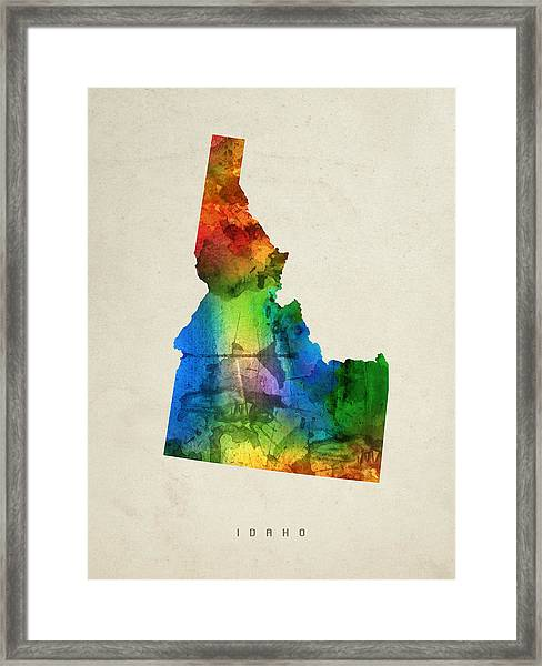 Idaho State Map 03 Framed Print
