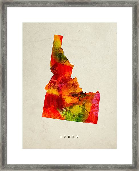 Idaho State Map 04 Framed Print