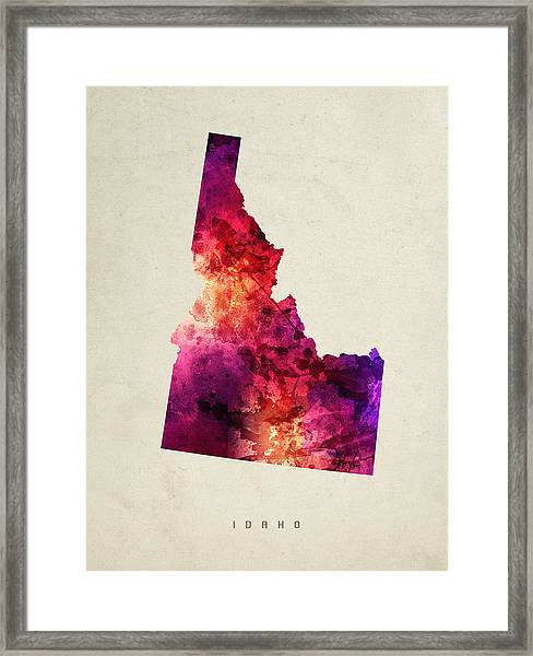 Idaho State Map 05 Framed Print