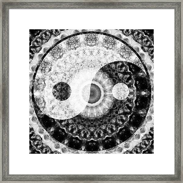 Ideal Balance Black And White Yin And Yang By Sharon Cummings Framed Print