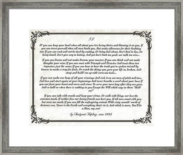 If Poem By Rudyard Kipling Framed Print
