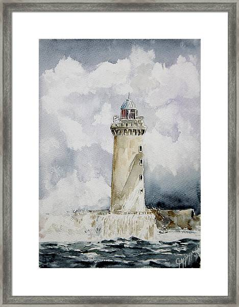 ighthouse Kereon Ouessant island Britain Framed Print