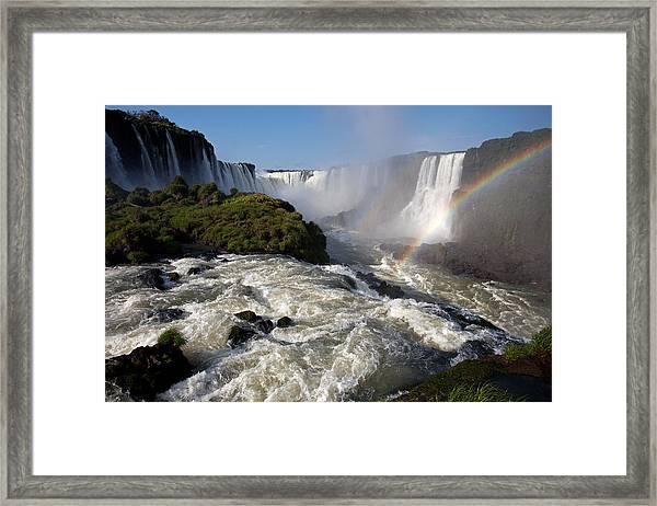 Iguassu Falls With Rainbow Framed Print