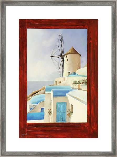 Il Mulino Oltre La Finestra Framed Print