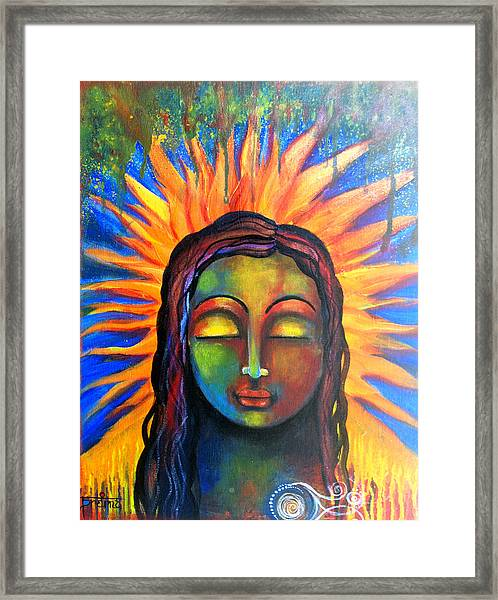 Illuminated By Her Own Radiant Self Framed Print