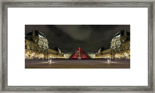 Illuminated Louvre Museum, Paris Framed Print