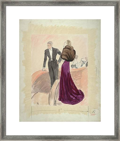 Illustration Of A Woman And Man Dressed Framed Print