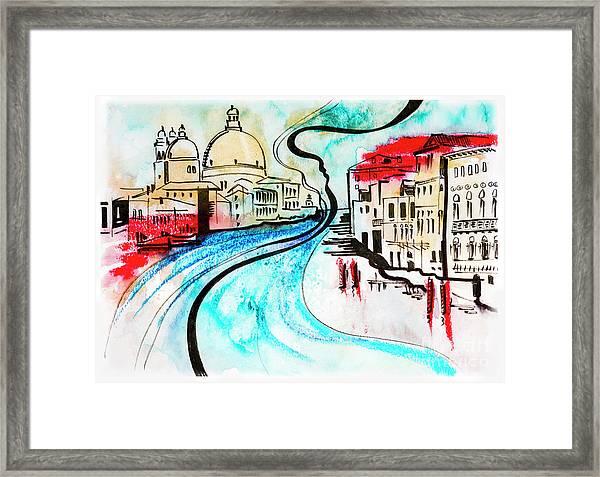 illustration of travel, Venice Framed Print