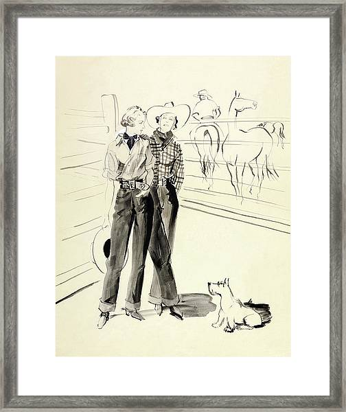 Illustration Of Women At A Ranch Framed Print