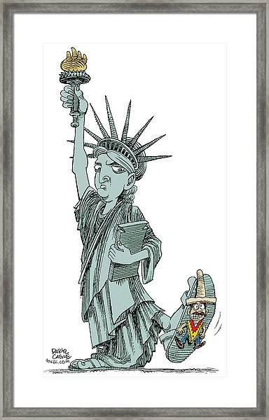Immigration And Liberty Framed Print