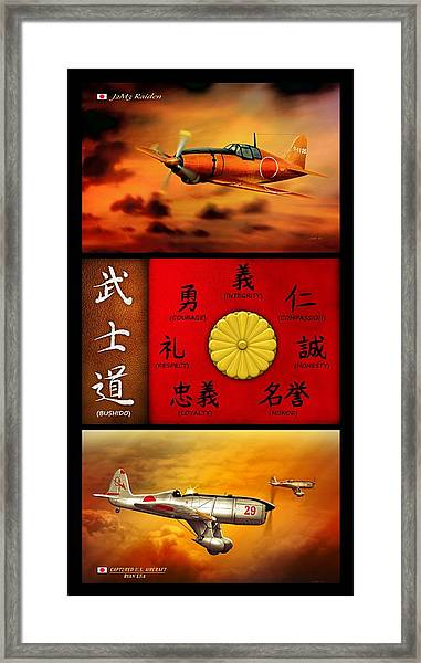 Imperial Japan Aircraft With Bushido Code Framed Print