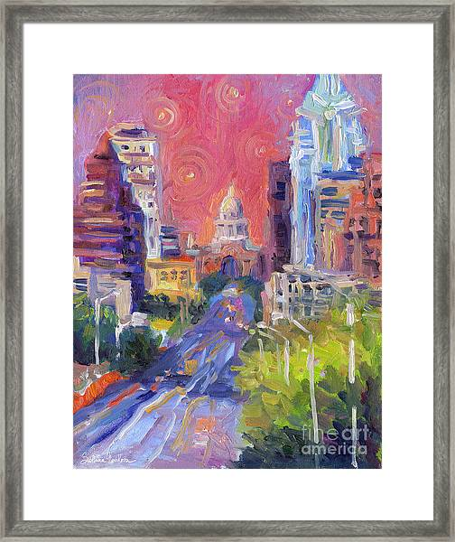 Impressionistic Downtown Austin City Painting Framed Print