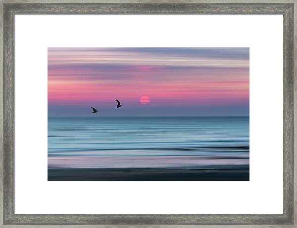 Impressionistic Sunset At Widemouth Bay, Bude, Cornwall, Uk.  Framed Print