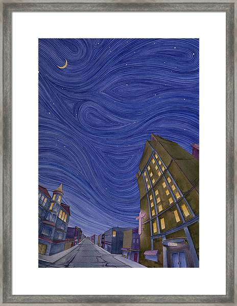 Framed Print featuring the painting Impressions Of Sedalia Nocturne by Scott Kirby