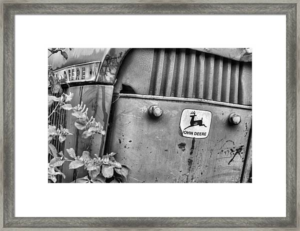 In John Deere Greene Bw Framed Print