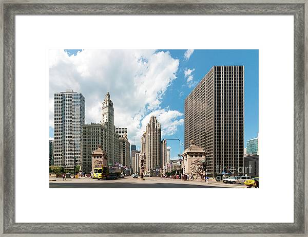 In The Middle Of Wacker And Michigan Framed Print