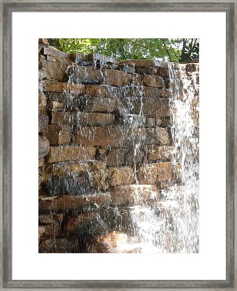 In Thought At The Falls Framed Print by Warren Thompson