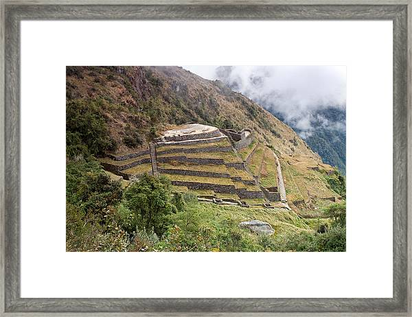 Inca Ruins And Terraces Framed Print