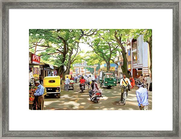India Street Scene Framed Print by Dominique Amendola