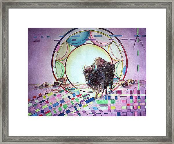 Indian Buffalo Circle Framed Print